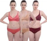 Women's Bra & Panty Set | Self Design Maroon/Pink/Gold Lingerie Set