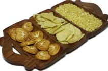 Serving Home/Kitchen Handcrafted Wooden Tray|Platter For Snacks Dry Fruits (3 Compartments)