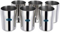 Apro High-Quality Stainless Steel Glass Set (7.4cm Dia, 360ml) (Pack of 6)