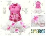 Styleroad Floral Top & Skirt Set of Cotton Blend Fabric Ideal for Girls (Multicolor) (Pack of 1)