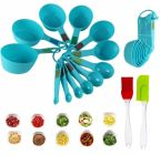 Krivish Combo Set of 12 Blue Plastic Measuring Cup, Spoon & Pack of 2 Multicolor Silicone Spatula & Oil Brush For Kitchen Cooking and Baking