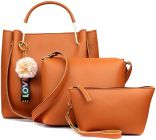 Stylish Women PU Leather Hand Bag For Casual & Party Wear (Tan) (Combo of 3)