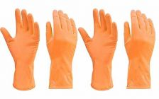 Stretchable Reusable Rubber Hand Cleaning Gloves for Washing Cleaning Kitchen Garden (Orange 2 Pair)
