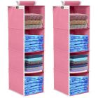 Unicrafts Clothes Hanging Organizer 4 Shelves Non-Woven Foldable and Universal Fit Closet Organizer Storage Hanger for Bedroom Combo (Pack Of 2) Pink