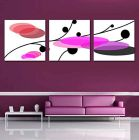 Cotton Canvas 3 pic Set for Wall Hanging Photo Frame size-14x14 inch (1 inch Thickness) Art Digital Printing Frame Purple