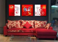 Cotton Canvas 3 pic Set for Wall Hanging Photo Frame size-14x14 inch (1 inch Thickness) Art Digital Printing Frame Red