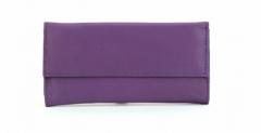 ASPENLEATHER Stylish Genuine Leather Jewellery Roll Bag For Women (Purple)
