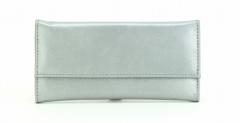 ASPENLEATHER Designer genuine Leather Jewellery Roll Bag For Women (Silver)