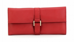 ASPENLEATHER Designer Leather Jewellery Roll Bag For Women (Red)