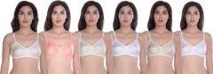 Cotton Blend Full Coverage Non-Padded Bra For Women (Pack Of 6)