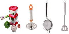 Combo of Onion Chopper, Masher, Tea Strainer and Hand Free Blendar Silver Kitchen Tool Set (Pack of 4)