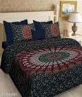 VINODTRADERS The KOS BADMERI Screen Print Cotton Double Bedsheet with two Pillow Covers   Pack of 1