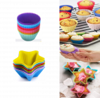 Krivish Multicolor Reusable Non Stick Round & Star Shape Heat Resistance Silicone Moulds For Baking Cup Cake, Muffins, Pastry & Jelly (24 Pcs|12 Pcs Each Shape)