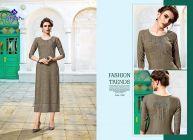 Sunsim Fashion Comfortable and Regular Rayon Rayon Embroidery 3/4th Sleeve Casual Kurtis For Womens (Grey)