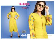 Sunsim Fashion Comfortable and Regular Fit Rayon Embroidery 3/4th Sleeve Casual Kurtis For Womens (Yellow)