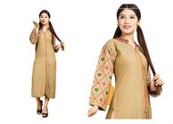 Sunsim Fashion Comfortable And Regular Fit Rayon Embroidery 3/4th Sleeve Casual Kurtis For Women's (Beige)
