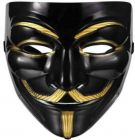 PTCMART Plastic Fawkes Anonymous VIP Edition Face-Mask Party Mask (Black, Pack of 1)