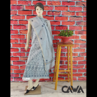 WACA Stylish & Trendy Unstitched Chanderi Suit Piece With Chikankari Embroidery with it comes a Lavishing Dupatta for Women's (Pack: Pack of 1)   (Color: Lava Grey)