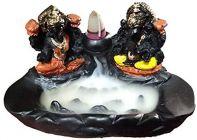 Homeoculture Diwali Special Ceramic Laxmi Ganesha Smoke Fountain Incense Burner with 10 Backflow Cone