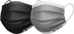 PALOMINO Water Resistant Surgical Mask With Melt Blown Fabric 4 Layer (Black & Grey) (Pack of 100)