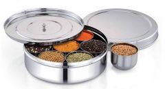 Stainless Steel Mirror Polish Masala Dabba Box Set of 7 Pieces Containers with 1 Piece Inner Plate & 1 Piece Lid