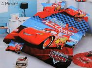 FABRIC EMPIRE Cotton Mcqueen Printed Kids Version Comforter Set With 1 Double Bedsheet and 2 Pillow Covers