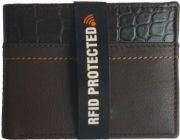 Men Brown Genuine Leather RFID Wallet  (7 Card Slots)
