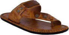 AUSTINJUSTIN Self Design Top Grain, Synthetic, Casual Airmix Sole Slipper For Men (Color-Tan)