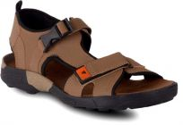 Wooden Pattern, Goat Skin, Top Grain, Synthetic Material, Casual, Sandals For Men (Color-Brown)