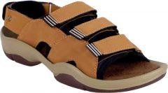 AUSTINJUSTIN Block Heel Self Design Top Grain, Synthetic Material, Casual, Sandals For Men (Color-Earthy Brown)