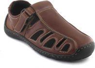 AUSTINJUSTIN Self Design, Top Grain, Synthetic Material, Casual, Trp Sole Sandals For Men (Color-Brown)