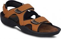 AUSTINJUSTIN Self Design Top Grain, Velcro Closure, Synthetic, Airmix Sole Casual Sandal For Men (Color-Tan)