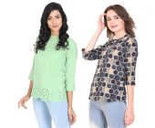 Jazbay Trending, Stylish & Fashionable Regular Polyester Crepe Soft 3/4TH Sleeve For Casual & Office Wear Plain Cut Work For Women Multi-Color Top (Pack of 2)