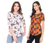 Jazbay Trending, Stylish & Fashionable Regular Fitting Round Frilled Neck Casual, Office & Party Wear Top For Women (Pack of 2) (Multicolor)