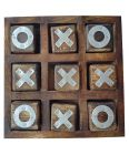 MohitEnterprises | Toddler Toys Noughts and Crosses Game Brass Wooden Game - Brown | Pack of 1