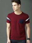 Designing Self Pattern with Side Pocket Round Neck Half Sleeves Regular Fit Cotton T-Shirt For Mens (Maroon)