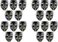 PTCMART Vendetta Party Comic Face Mask Black & Golden Mask for kids Gift Party Mask (Pack of 20)