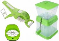 Combo of Cutter with Peeler for Vegetable and Fruits, Apple Cutter, Onion Chopper (Pack of 3)