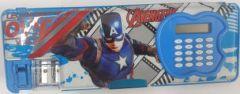 SKI Pencil Box With Amazing Avenger Character, Plastic Pencil Box  (Set of 1) (Color:-Sky Blue)