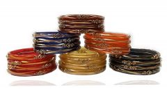 Gold Polish Shine Glass Bangles Kangan Comes With 6 Beautiful Color for daily wear /Party wear uses girl & women