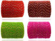 Priya Kangan Glass and Bangle Set for Women & Girls (Set of 96) ( Red/Maroon/Green/Pink) Size - 2.8 Inches