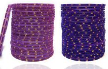 PRIYA KANGAN Beautiful Velvet Fabric & Glass Bangle Set For Women & Girls Purple & Blue Color (Pack of 48)