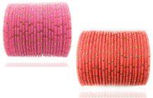 PRIYA KANGAN Beautiful Velvet Fabric & Glass Bangle Set For Women & Girls Pink & Gajari Color (Pack of 48)