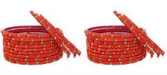 Beautiful & Fashionable Glossy Glass Crystal Bangle Set/Chudiyan Studded with Crystals & Beads for Women & Girls on Wedding & Festive Occasions (Pack of 24)