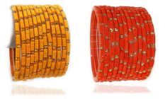 Beautiful & Fashionable Glossy Glass Crystal Bangle Set/Chudiyan Studded with Crystals & Beads for Women & Girls on Wedding & Festive Occasions (Pack of 24) - Yellow & Orange