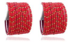 Beautiful & Fashionable Glossy Glass Crystal Bangle Set/Chudiyan Studded with Crystals & Beads For Wedding & Festive Occasions (Pack of 24)