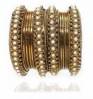 Priya Kangan Classic Antique Gold Plated With Moti Work Traditional Bangles For Women & Girls (Pack of 12 bangles)