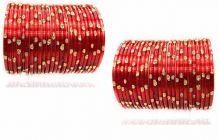 Priya Kangan Designer Traditional Bangles In Red Colour With Golden Dots Glass Bangle For Women & Girls (Pack of 48 pcs Bangles)