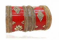 Royal Dazzling Gold Plated Kundan Work Plastic Seap Bridal Chuda & Designer Chuda Set for Women & Girls (Red)