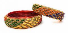 Priya Kangan Beautifull & Fashionable Glossy Handmade Golden Stone Glass Bangles Created With Orignal Zircon & Beads for Women & Girls (Pack Of 2)
